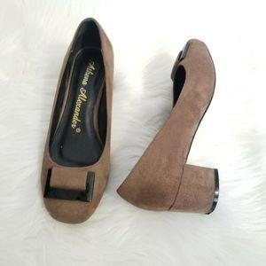 Athena Alexander Taupe Suede Pumps - Low Heel